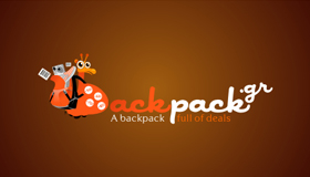 Backpack logo, online business logo design