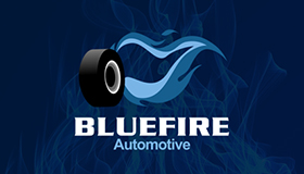 Blue fire logo, Automotive logo design