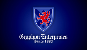 gryphon logo, shield logo, coat of arms logo