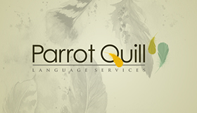 Translation service logo design, Parrot feather logo